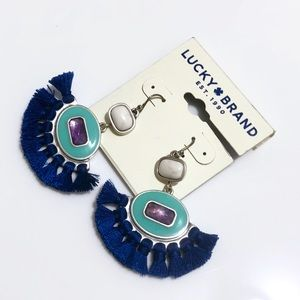 Lucky Brand Boho Silver Blue Tassel Drop Earrings